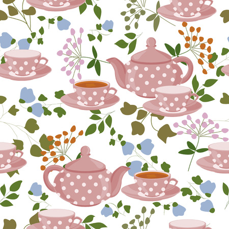 teapot: Seamless pattern with teapots, cups and field plants.