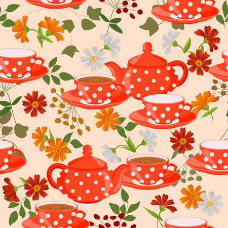 calendula flower: Seamless pattern with teapots, cups and medicinal plants.