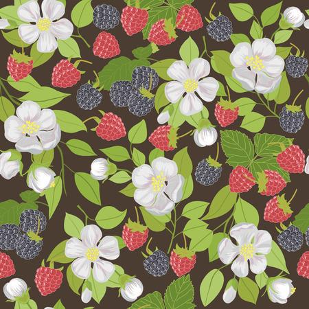 dewberry: Seamless pattern with berries raspberries, blackberries, and white flowers.