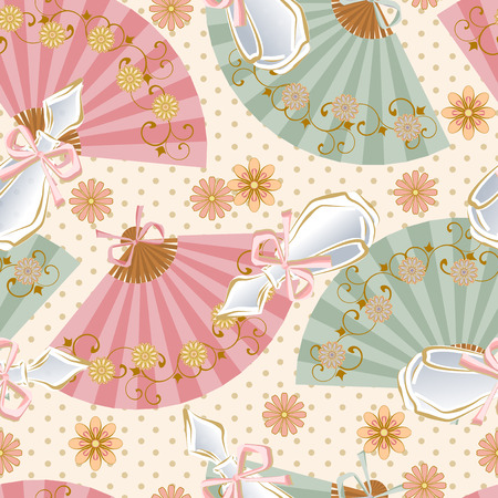 aristocratic: Seamless pattern with perfume bottles, fans and flowers.