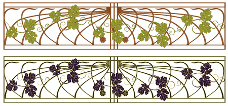 Grate in the art Nouveau style with grape vines. Illustration