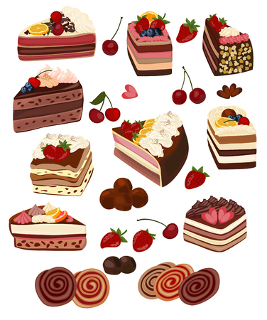 flan: Set of isolated cakes decorated with cream and fruit, rolls, pastries and candy.