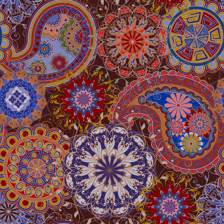 The pattern of mandalas and Paisley pattern in Indian style. Illustration