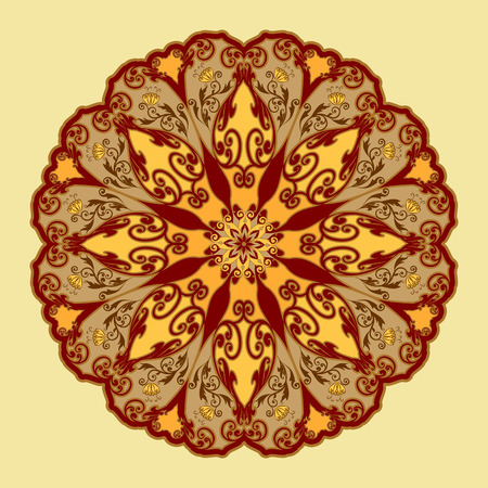 Decorative floral ornament in East style. Mandala. Illustration