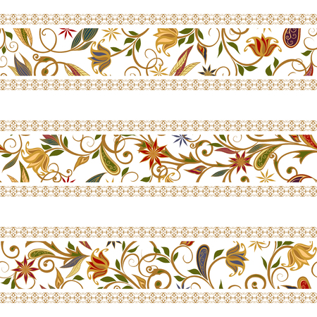 india culture: Abstract vintage pattern with decorative flowers, leaves and Paisley pattern in Oriental style.