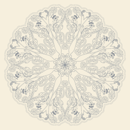 east indian: Decorative floral ornament in East style. Mandala. Illustration
