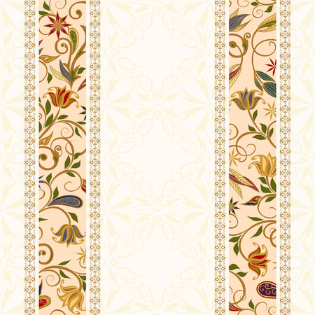 lace pattern: Abstract vintage pattern with decorative flowers, leaves and Paisley pattern in Oriental style.