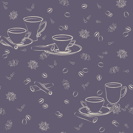 anise: Seamless pattern with cups, cinnamon, coffee beans, anise and cloves.
