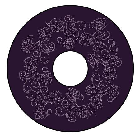 Grapevines circle decor pattern background. vector illustration.