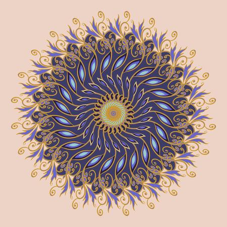 Decorative floral ornament in East style. Mandala. Illustration