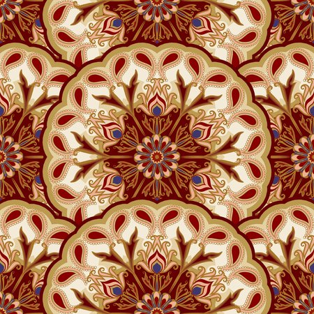 Vector seamless pattern of mandalas. Traditional Eastern pattern of circular graphic elements.