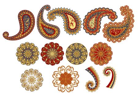 Vector decorative Paisley, mandala elements.