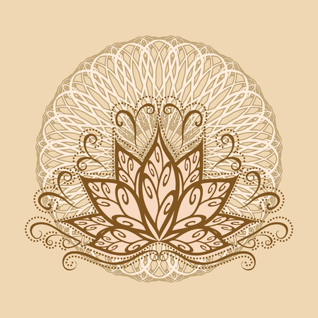 Lotus and mandala. Vector image of a stylized Lotus flower in vintage style with the mandala.