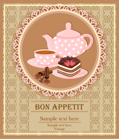 Teapot, Cup with tea, cake and spice. Background with teapot and Cup in a lace frame.
