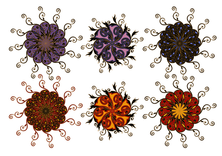 Mandala. A set of ornamental floral arrangements in oriental style.