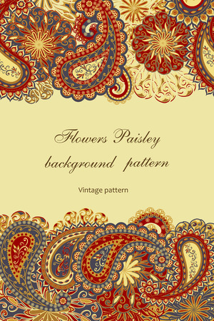 Abstract vintage pattern with decorative flowers, leaves and Paisley pattern in Oriental style. Standard-Bild - 107420135