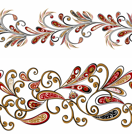 Seamless vintage borders. Traditional East style, ornamental floral elements.