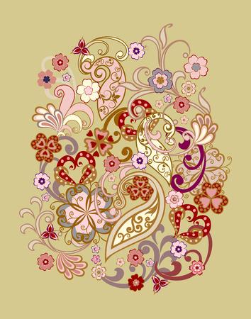 Bouquet di fiori fantastici. Sfondo in stile etnico tradizionale.