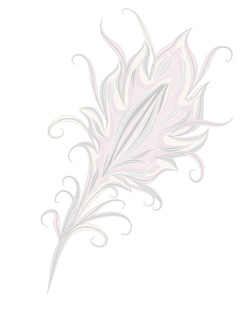 The feather of a magical bird. The feather of a fantastic bird. Vector isolated feather in vintage style on a white background.  イラスト・ベクター素材