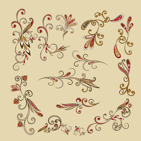 Vegetable design elements. Vector oriental design elements with a floral pattern, paisley.