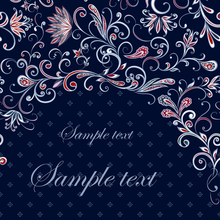 Abstract vintage pattern with flowers, leaves and paisley pattern in oriental style.