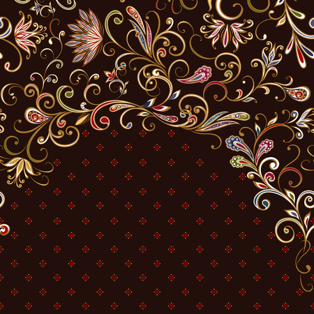 Abstract vintage pattern with flowers, leaves and paisley pattern in oriental style. Banque d'images - 121437539