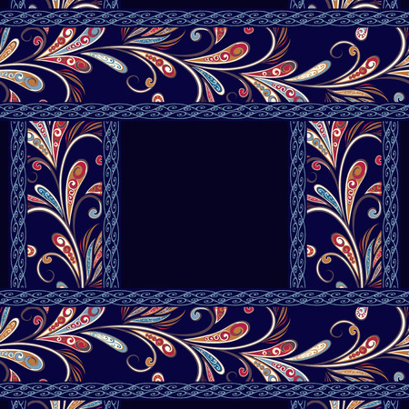 Abstract vintage pattern with flowers, leaves and paisley pattern in oriental style. Banque d'images - 121437549