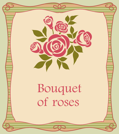 Background with bouquet of roses. Vector background with a bouquet of roses in a frame. Stock Illustratie