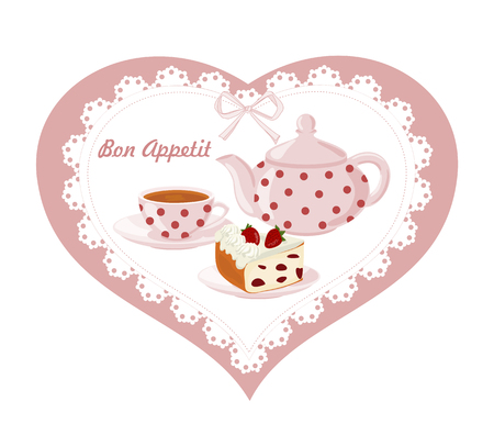 Background with teapot, Cup and cakes. Stock Illustratie