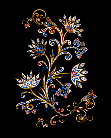 Bouquet of fantastic flowers. Background in ethnic traditional style. Banque d'images - 121437565