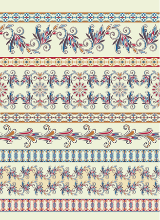Seamless vintage borders. Traditional East style, ornamental floral elements. Stock Illustratie