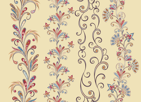 Seamless vintage borders. Traditional East style, ornamental floral elements. Banque d'images - 121437572