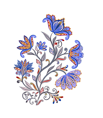 Bouquet of fantastic flowers. Background in ethnic traditional style. Stock Illustratie