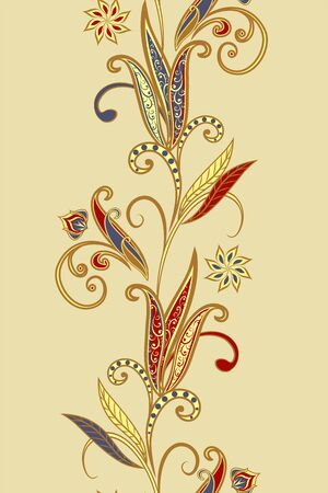 Seamless vintage borders. Traditional East style, ornamental floral elements. Illustration