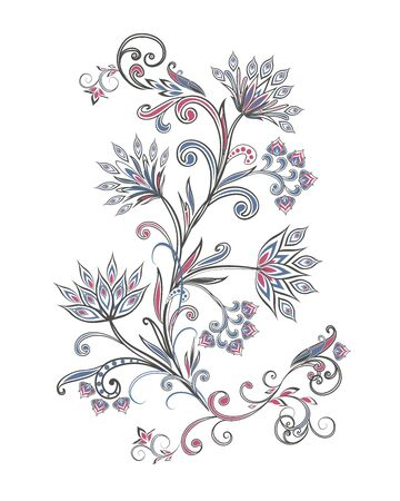 Bouquet of fantastic flowers. Background in ethnic traditional style. Ilustração