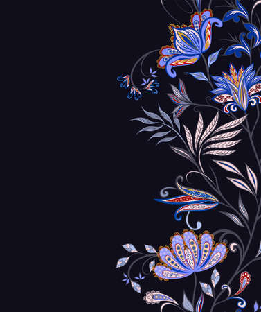 Bouquet of fantastic flowers. Background in ethnic traditional style. Abstract vintage pattern with decorative flowers, leaves and Paisley pattern in Oriental style.