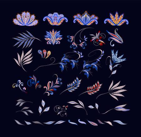 Vector decorative design Paisley, floral elements. Isolated floral design elements in ethnic Oriental style. Illusztráció