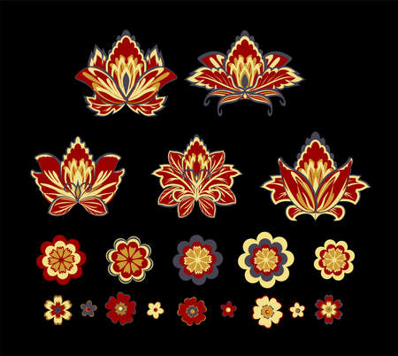 Vector decorative design Paisley, floral elements. Isolated floral design elements in ethnic Oriental style. Illustration