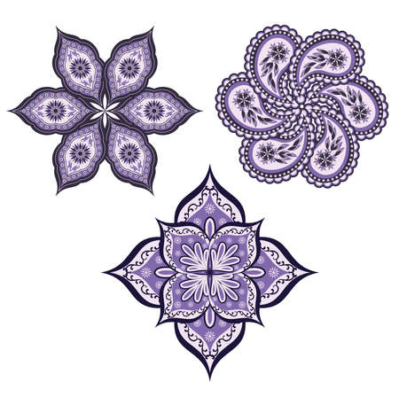 Mandala. A set of ornamental floral arrangements in oriental style. Vector design elements in a traditional Oriental style.