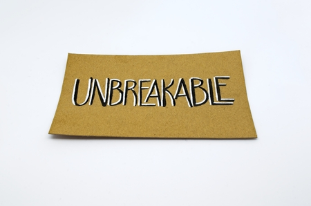 Unbreakable presentation card over white background