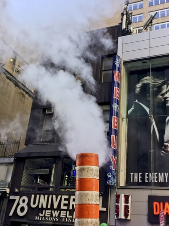 Smoke coming out of chimneys and sewers in NYC Publikacyjne