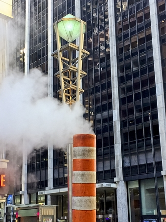 Smoke coming out of chimneys and sewers in NYC Zdjęcie Seryjne