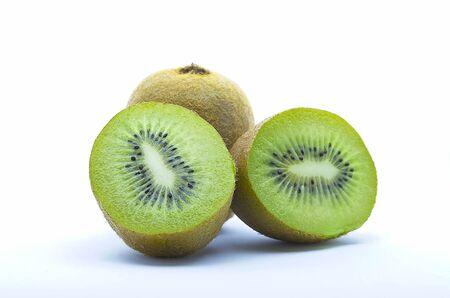 Closeup photo to kiwi fruits cut in halves