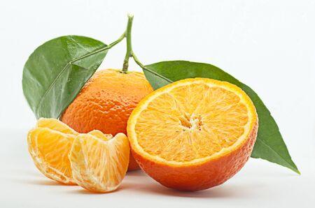 Fresh tangerines on white background. Studio shot. Reklamní fotografie