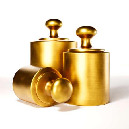 Three brass weights on white background 3D illustration Standard-Bild