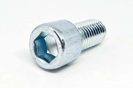 Hexagonal eye bolt isolated on white background. Piece of hardware