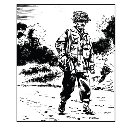Vector illustration of a British WW2 paratrooper carrying an anti-tank weapon Ilustracja