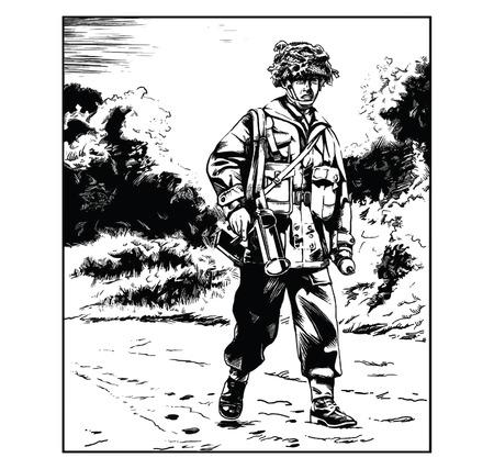Vectorillustratie van een Britse WW2 parachutist die een antitankwapen draagt Vector Illustratie
