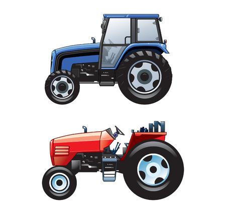 Illustration vectorielle de 2 tracteurs agricoles colorés Vecteurs