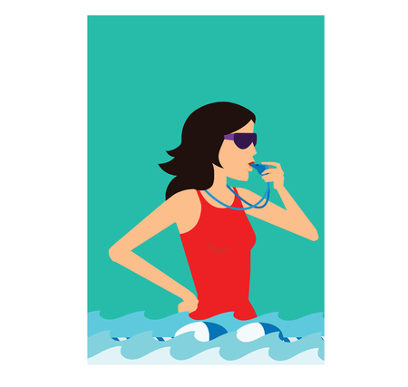Vector illustration of a young woman in a pool